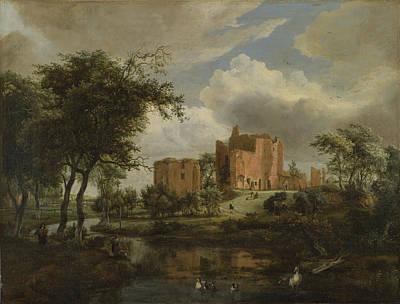 Meindert Hobbema Painting - The Ruins Of Brederode Castle by Meindert Hobbema