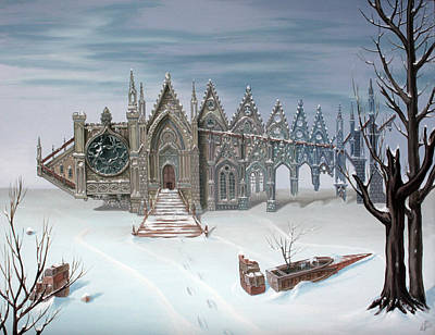 Post Apocalyptic Painting - The Sad Winter Tale . Or  Gothic Fish by Victor Molev