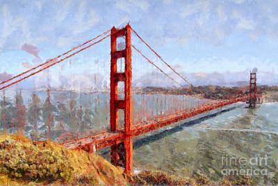 Wingsdomain Digital Art - The San Francisco Golden Gate Bridge . 7d14507 by Wingsdomain Art and Photography