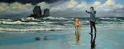 Thunder Painting - The Sand Dollar And The Dog by Conny Riley