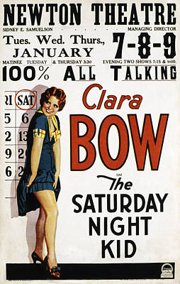 Postv Photograph - The Saturday Night Kid, Clara Bow, 1929 by Everett