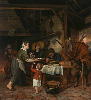 Indoor Painting - The Satyr And The Peasant Family by Jan Steen