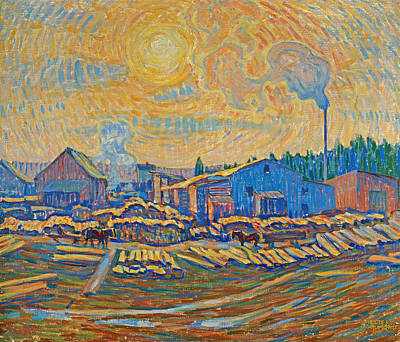 Painting - The Sawmill, December Sun by Ester Almqvist