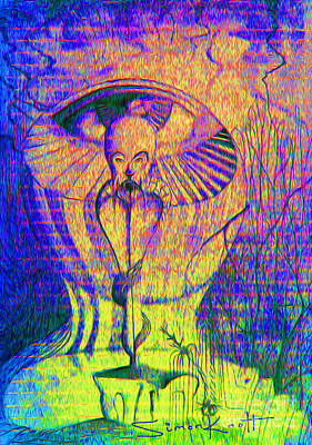 Telepathy Painting - The Sci-fi Wise Eye by Simon Knott