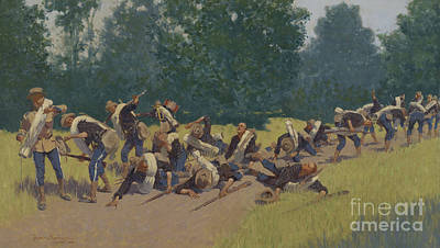 The Scream Of Shrapnel At San Juan Hill Print by Frederic Remington