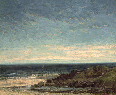 Yacht Painting - The Sea by Gustave Courbet