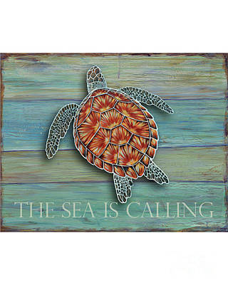 Green Sea Turtle Painting - The Sea Is Calling by Danielle Perry