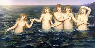 Vintage Female Nudes Painting - The Sea Maidens by Mountain Dreams