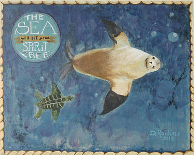 Science Tees Rights Managed Images - The Sea will set your spirit Free Royalty-Free Image by Donna Rollins