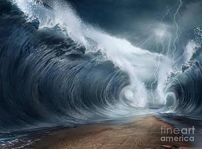 Tsunami Digital Art - The Seas Are Being Parted by Caio Caldas