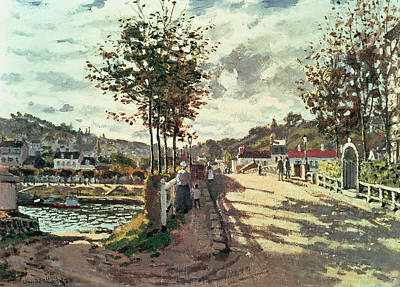 Tree-lined Painting - The Seine At Bougival by Claude Monet