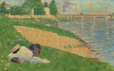 Painting - The Seine With Clothing On The Bank  by Georges Seurat