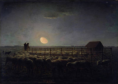 Nocturnal Animals Painting - The Sheepfold, Moonlight by Jean-Francois Millet