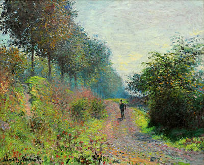 Road Painting - The Sheltered Path by Claude Monet