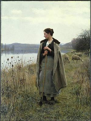 The Young Shepherdess Painting - The Shepherdess Of Rolleboise by MotionAge Designs