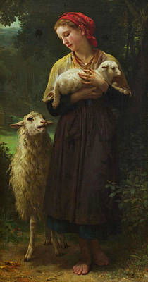 The Shepherdess Painting - The Shepherdess by William-Adolphe Bouguereau