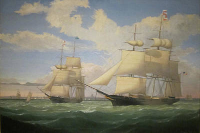 Painting - The Ships Winged Arrow And Southern Cross In Boston Harbor By Fitz Henry Lane 1853 by Fitz Henry Lane