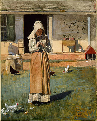 Winslow Homer Painting - The Sick Chicken by Winslow Homer