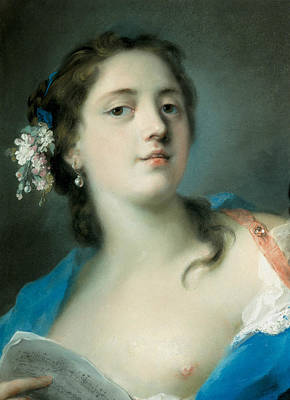 Venetian Art Pastel - The Singer Faustina Bordoni With A Musical Score by Rosalba Carriera