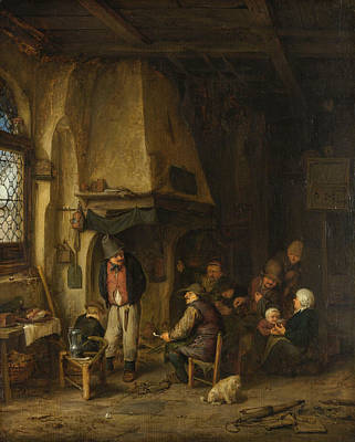 Interior Scene Painting - The Skaters by Adriaen van Ostade