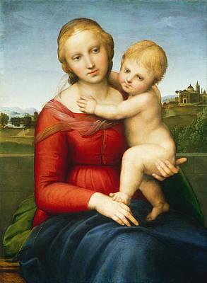 Newborn Painting - The Small Cowper Madonna by Raffaello Sanzio