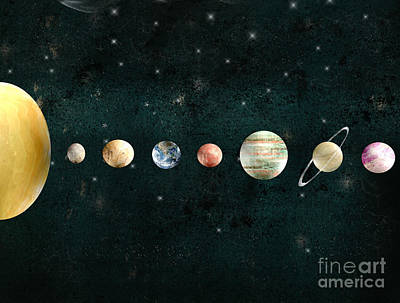 Print featuring the painting The Solar System by Bri B