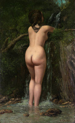 Bathers Painting - The Source by Gustave Courbet