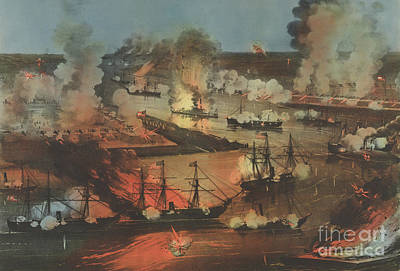 Painting - The Splendid Naval Triumph On The Mississippi, April 24th, 1862 by Currier and Ives