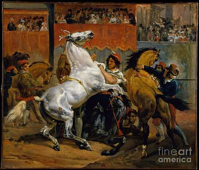 The Start Of The Race Of The Riderless Horses Art Print by Celestial Images