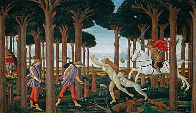 Novel Painting - The Story Of Nastagio Degli Onesti I by Sandro Botticelli