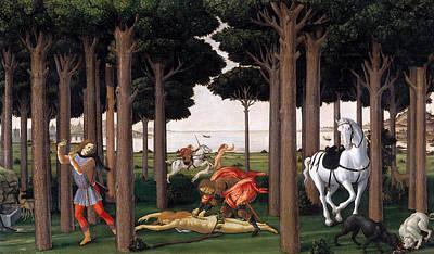 Landscape Painting - The Story Of Nastagio Degli Onesti II by Sandro Botticelli