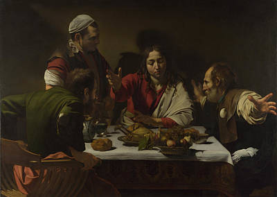 The Supper At Emmaus Painting - The Supper At Emmaus by Caravaggio