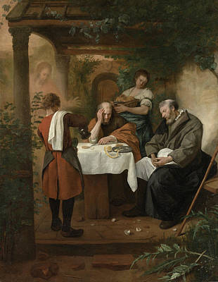 Disciples Painting - The Supper At Emmaus by Jan Steen