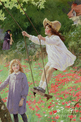 Little Girls Painting - The Swing by Percy Tarrant