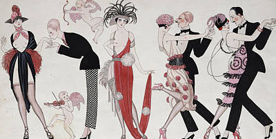 Art Deco Drawing - The Tango by Georges Barbier
