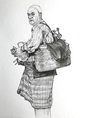 Drawing - The Souss Vendor The Tea Man by Marwan George Khoury