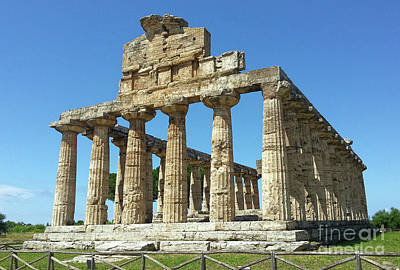 Photograph - The Temple Of Athena In Paestum In Black And White by Gregory Dyer