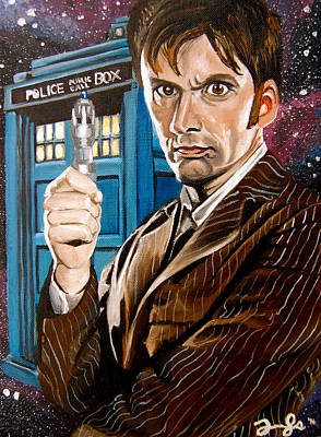 Tardis Painting - The Tenth Doctor And His Tardis by Emily Jones