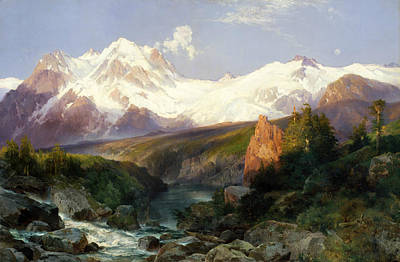American Painters Painting - The Teton Range by Thomas Moran