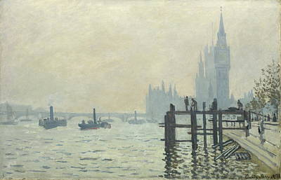 The Thames At Westminster Art Print by Claude Monet
