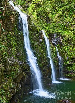 Photograph - The Three Bears - The Stunningly Beautiful Upper Waikani Falls by Jamie Pham