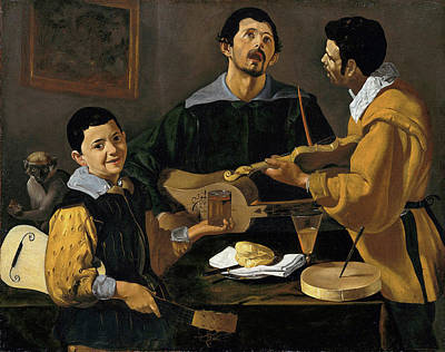 Violine Painting - The Three Musicians by Diego Velazquez