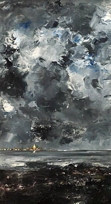 Stormy Weather Painting - The Town by Mountain Dreams