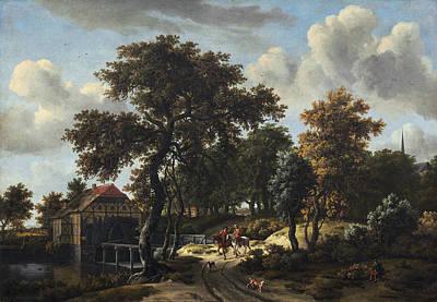 Meindert Hobbema Painting - The Travelers by Meindert Hobbema