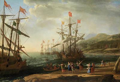 Cloudy Painting - The Trojan Women Setting Fire To Their Fleet by Claude Lorrain
