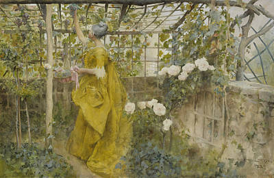 Vines Painting - The Vine by Carl Larsson