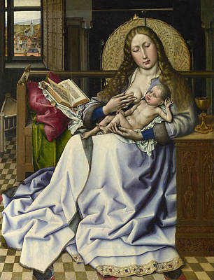 Babe Painting - The Virgin And Child Before A Firescreen by Robert Campin