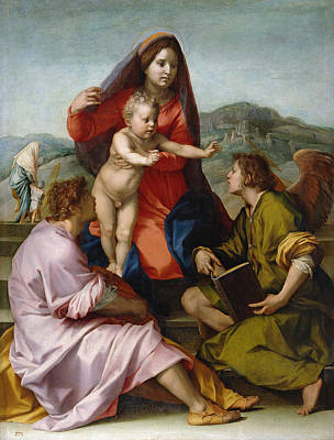 Child Jesus Painting - The Virgin And Child Between Saint Matthew And An Angel by Andrea del Sarto