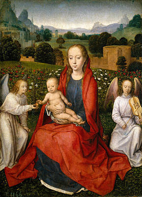 Baby Painting - The Virgin And Child Between Two Angels by Hans Memling