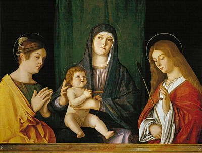 Child Jesus Painting - The Virgin And Child Between Two Saints by Giovanni Bellini